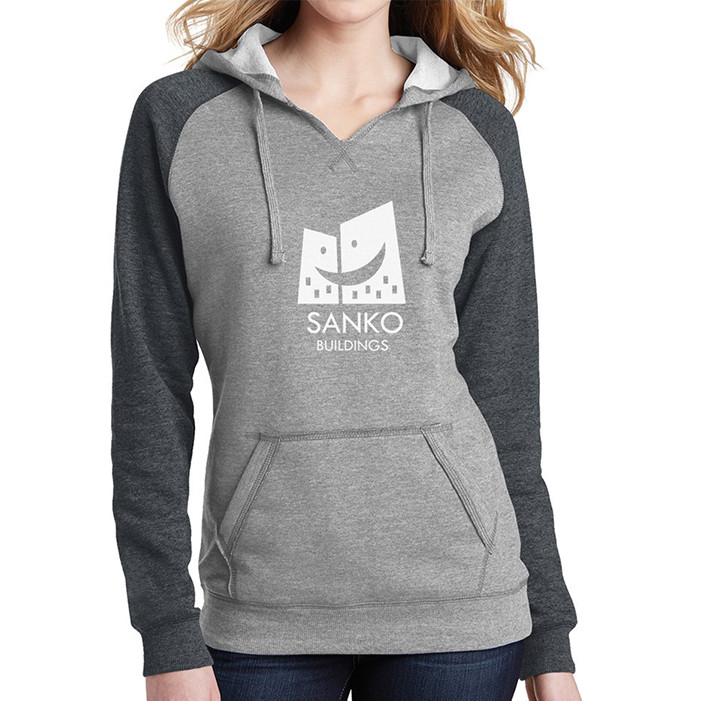 District ® Juniors' Lightweight Fleece Raglan Hoodie