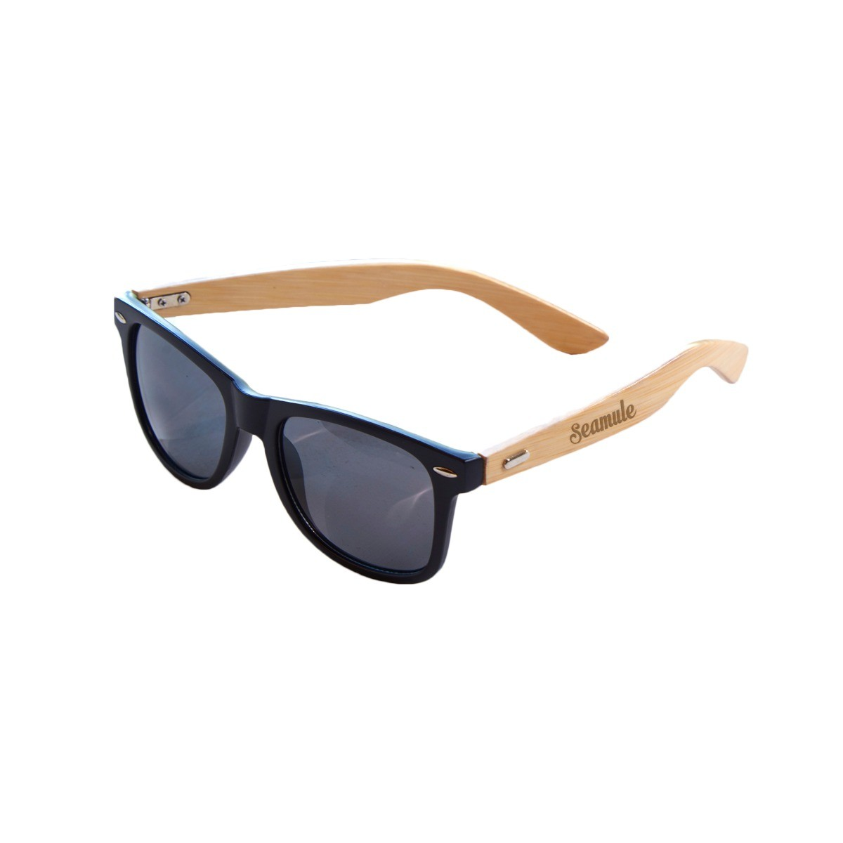 Black and Bamboo Sunglasses w/Pouch