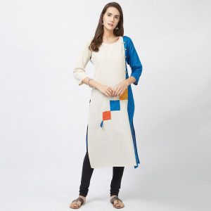 Pakistani white and blue designer Kurti