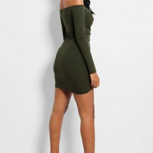 Ribbed Bardot Mini Green Dress Back Cyberstore Mauritius.jpg