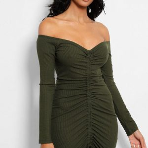 Ribbed Bardot Mini Green Dress Side Cyberstore Mauritius.jpg