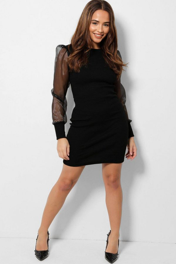 Black Puff Sleeve Mini Bodycon Dress Front View Cyberstore Mauritius