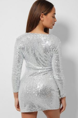 Silver V Neckline Plunge Sequin Dress Back Cyberstore Mauritius