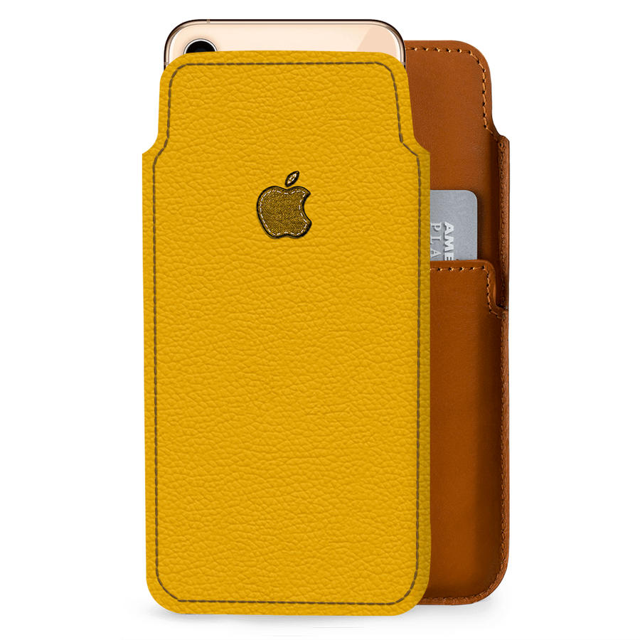 DailyObjects Stitched Yellow Real Leather Wallet Case Cover