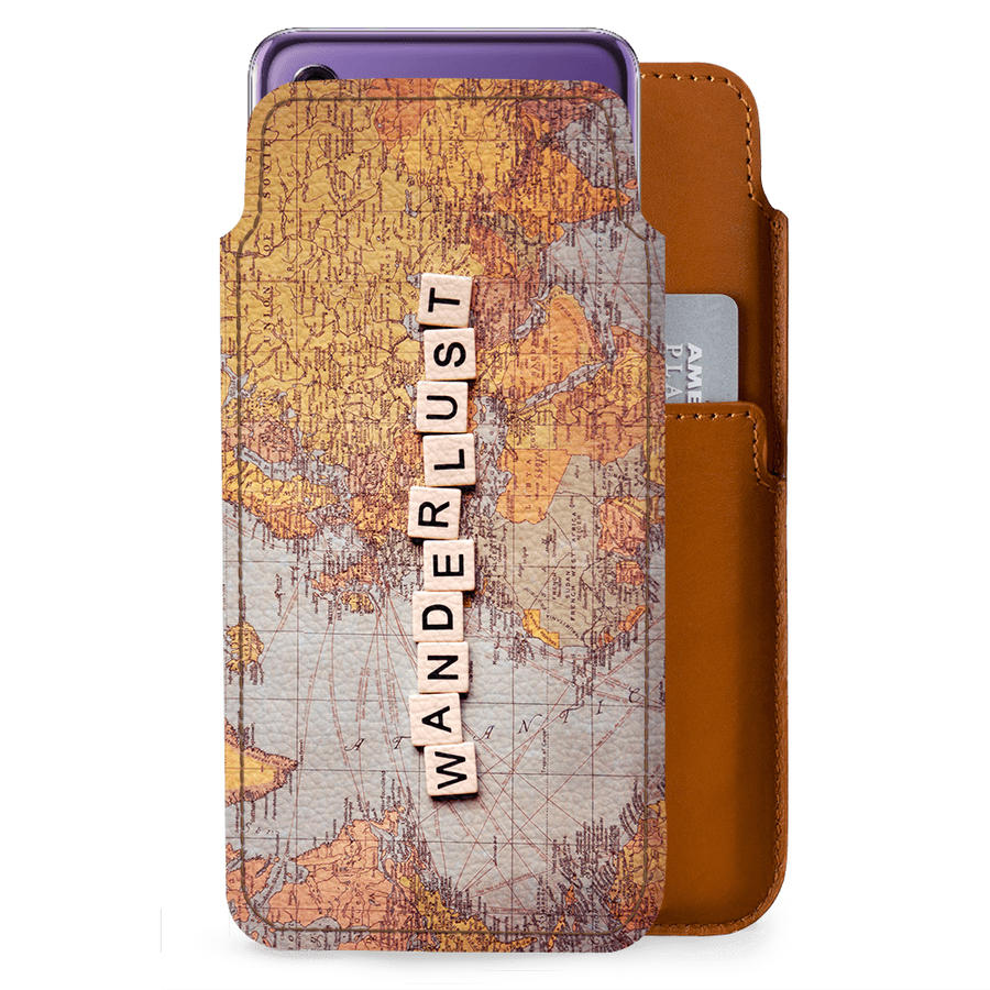 DailyObjects Wanderlust Map Real Leather Wallet Case Cover For Huawei P20