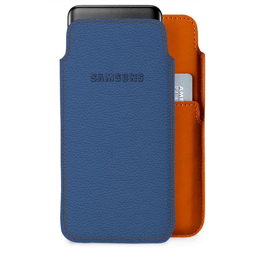 new style b1b60 e17e0 DailyObjects Stitched Blue Real Leather Wallet Case Cover For Samsung  Galaxy J8