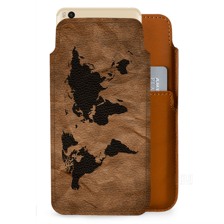 best cheap bd7bc 5be4a DailyObjects Wrinkled World Map Real Leather Wallet Case Cover For Xiaomi  Mi Max 2