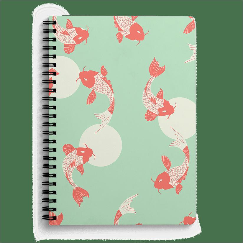 Mint Pattern Design Koi Fish 16 A6 Spiral Notebook
