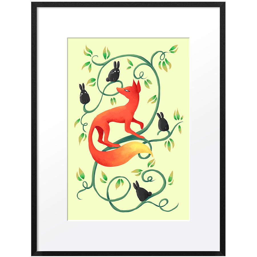 DailyObjects Bunnies and a Fox Anime Small Wall Art Framed Black ...