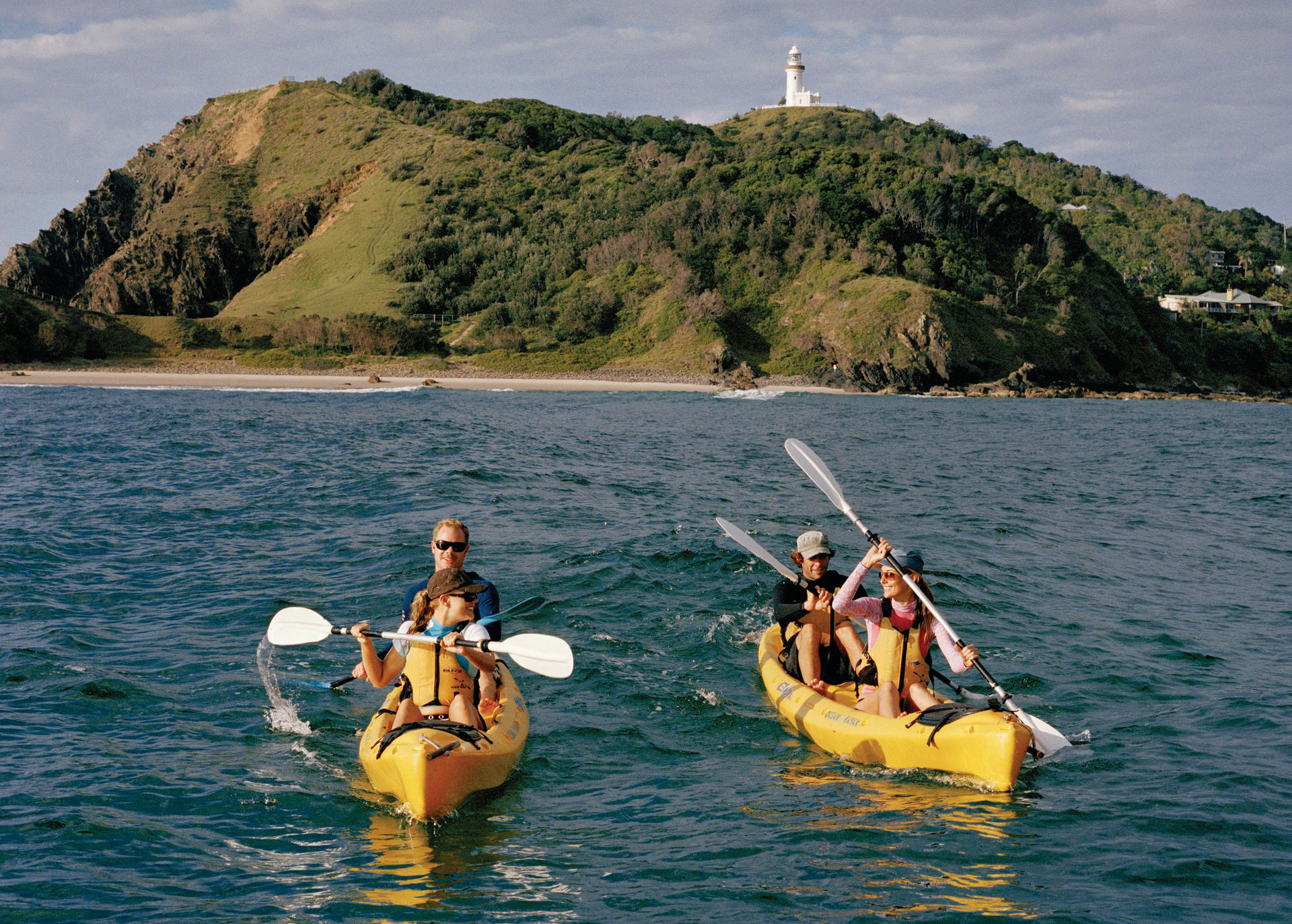Kayakken met dolfijnen in Byron Bay aan de Oostkust van Australië.