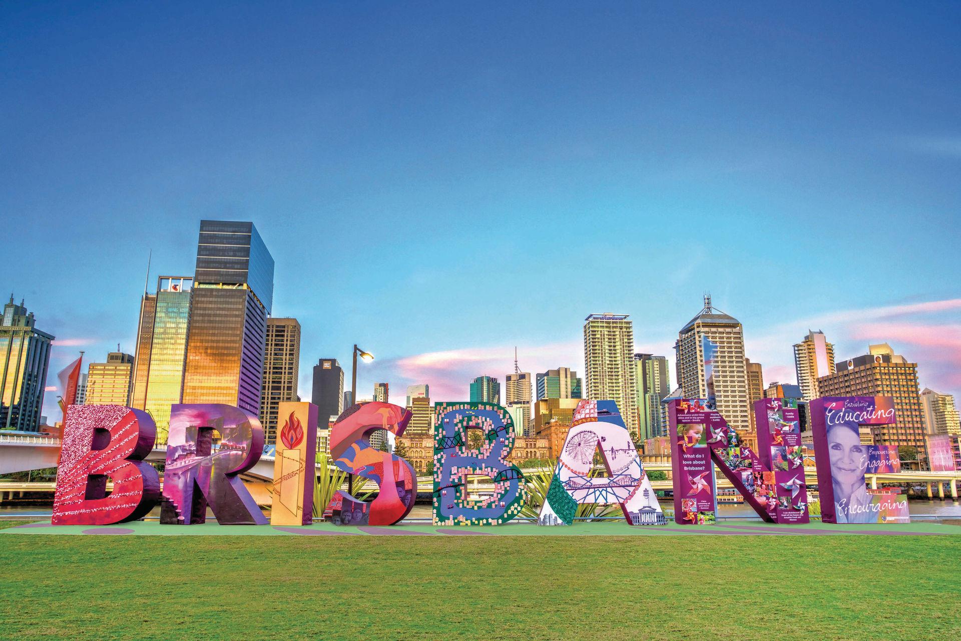 De kleurrijke letters van het plaatsje Brisbane aan de Oostkust van Australië.