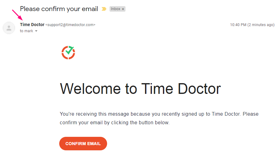timedoctor.com is using copmany name in emails