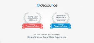 DeBounce wins Great User Experience and Rising Star Awards
