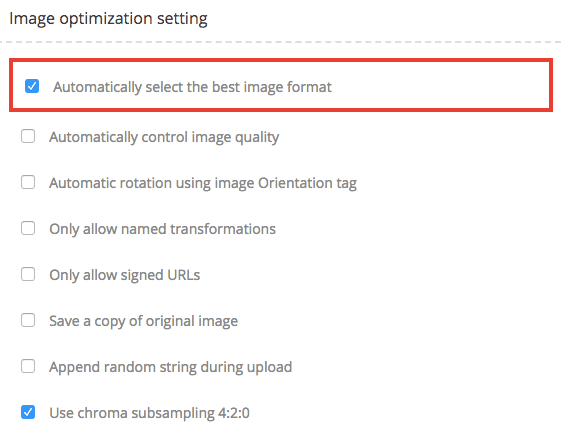 Automatic best image selection setting in ImageKit dashboard