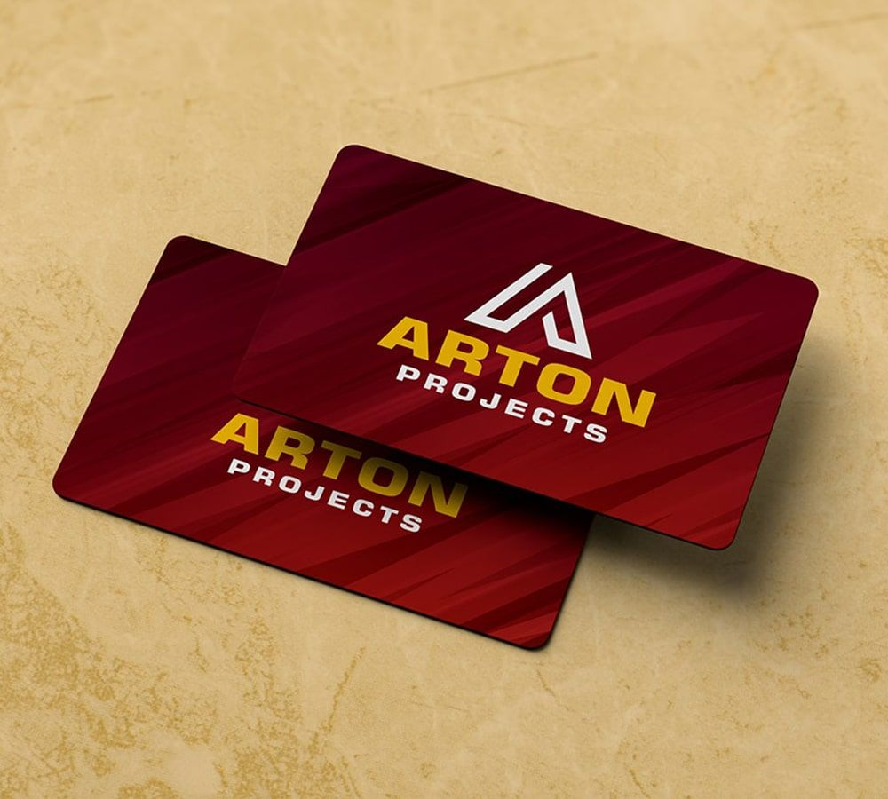Business card, red and yellow, Arts