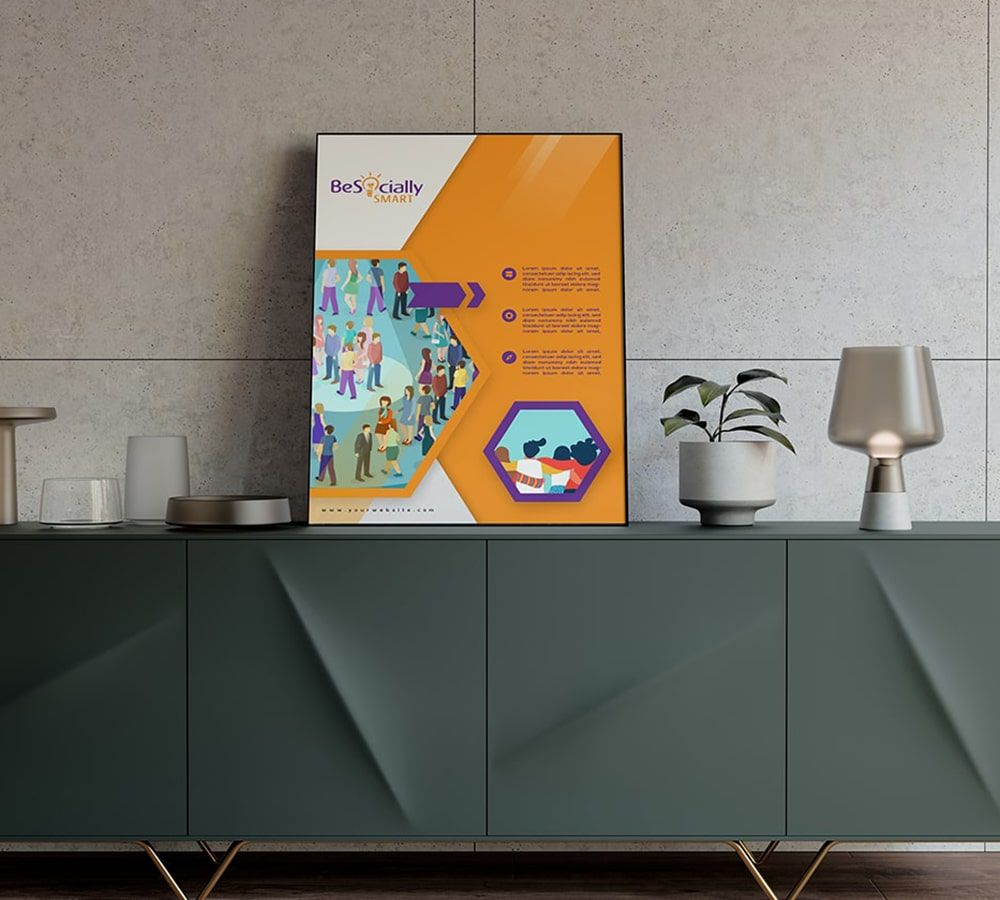 Poster design,Purple, yellow and white, Education