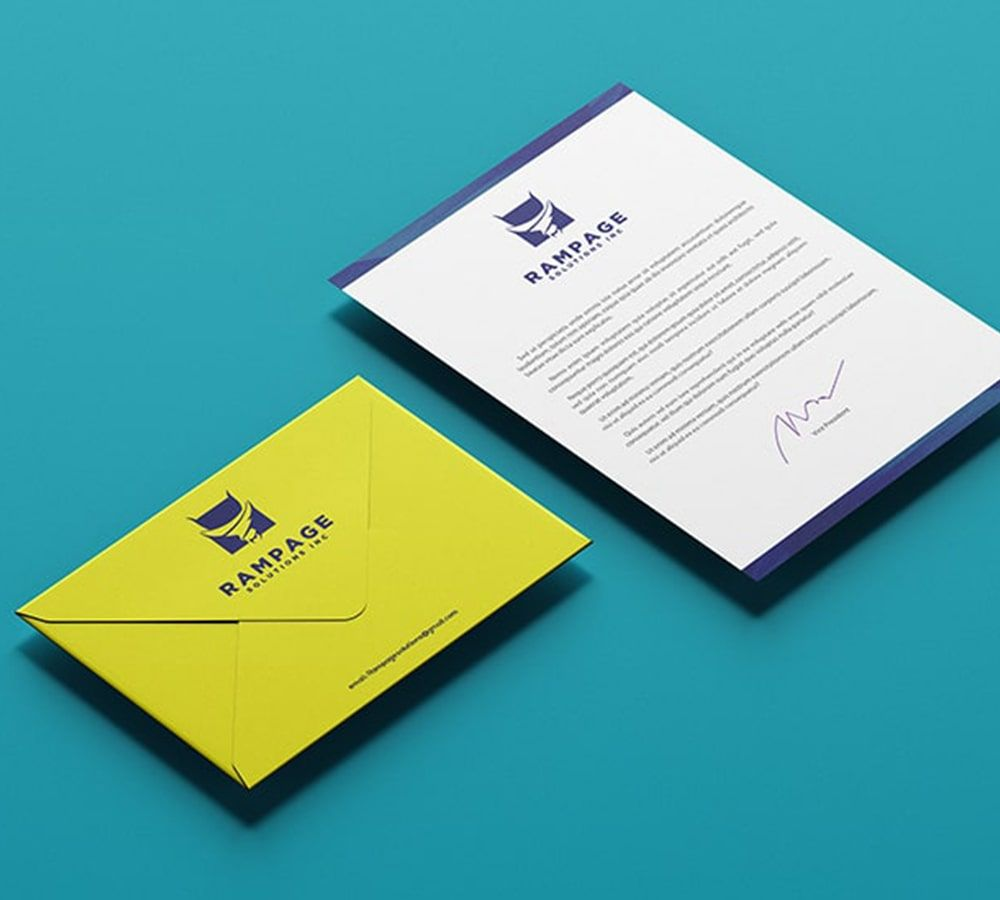 Envelope,yellow and blue, Business and consulting