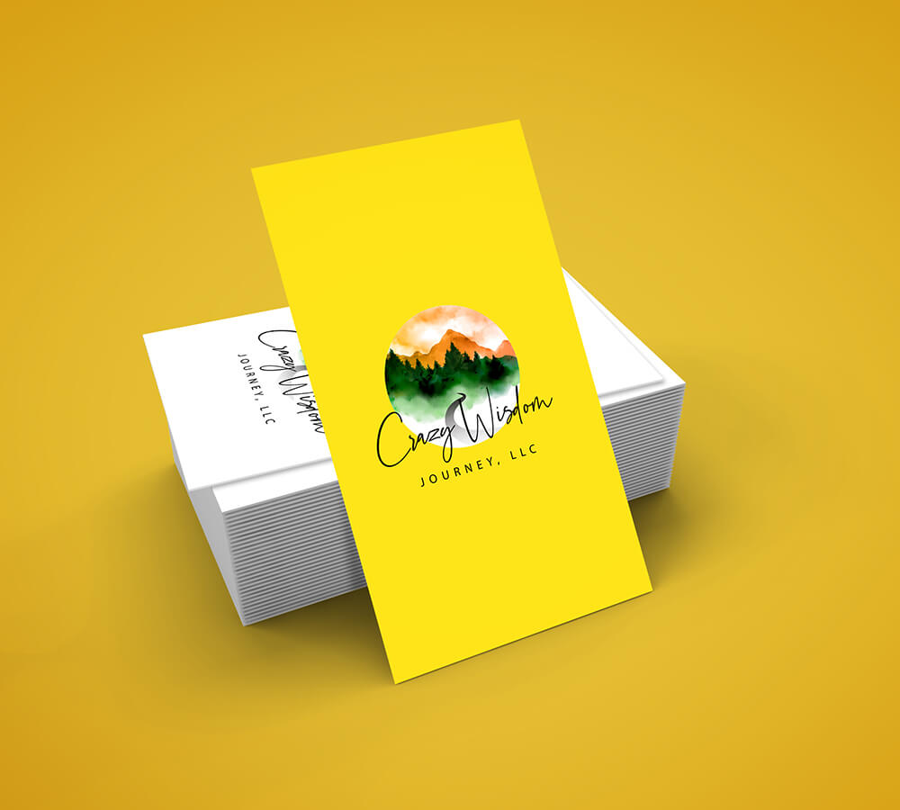 Business card, yellow, green orange and white, adventure