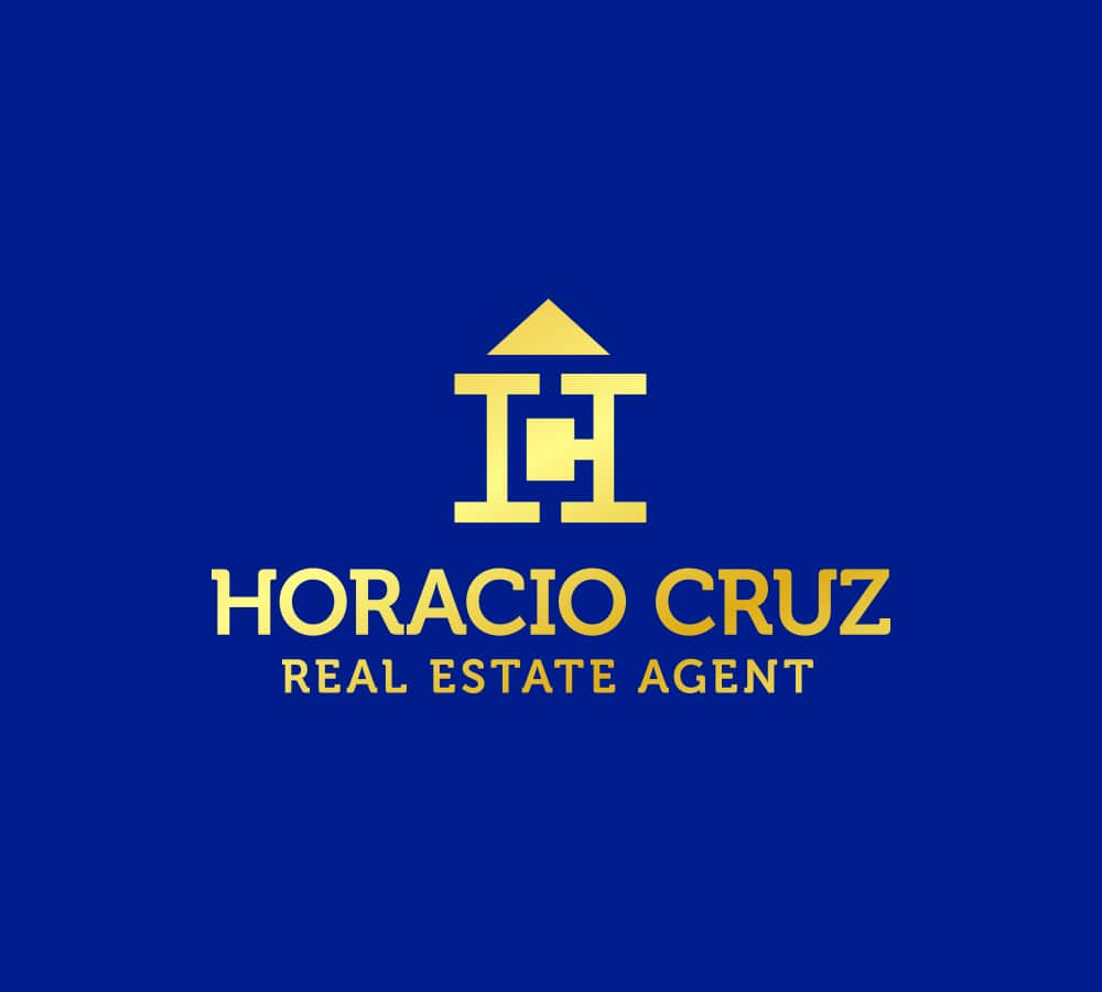 linear Logo, Real Estate, Blue and Golden, Conceptual