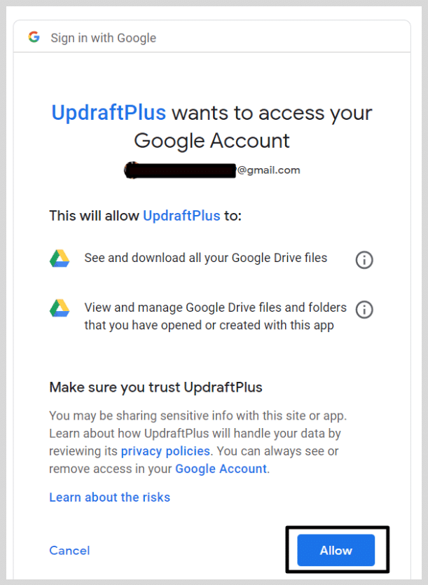 Updraftplus allow access