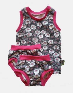 1 Unterhemd + 2 Unterhosen (Mädchen) grau mit Blume