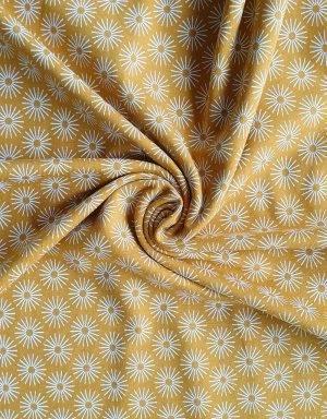 Jersey senf-gelb mit Blume