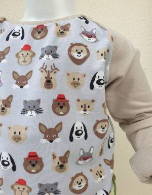 Langarm-Shirt hellgrau mit Tiergesichter, beige