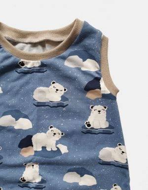 Kurzarm-Kleid / Hängerchen blau mit Eisbär auf Eisscholle