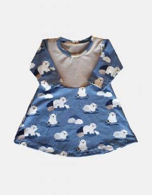Langarm-Kleid blau mit Eisbär auf Eisscholle
