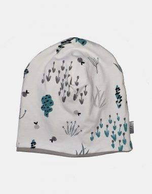 Wendemütze als Beanie oder Mütze weiß mit Sommerblumen