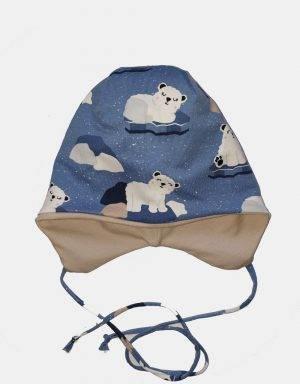 Kindermütze blau mit Eisbär aus Eisscholle