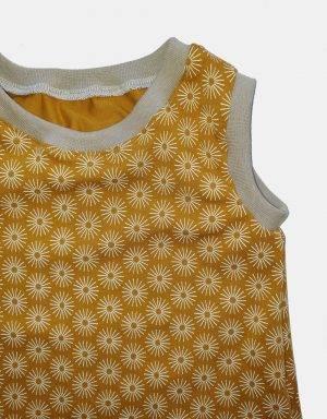 Kurzarm-Kleid / Hängerchen senf-gelb mit Blumen