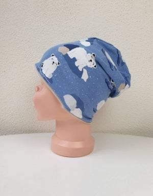 Wendemütze als Beanie oder Mütze blau mit Eisbär auf Eisscholle