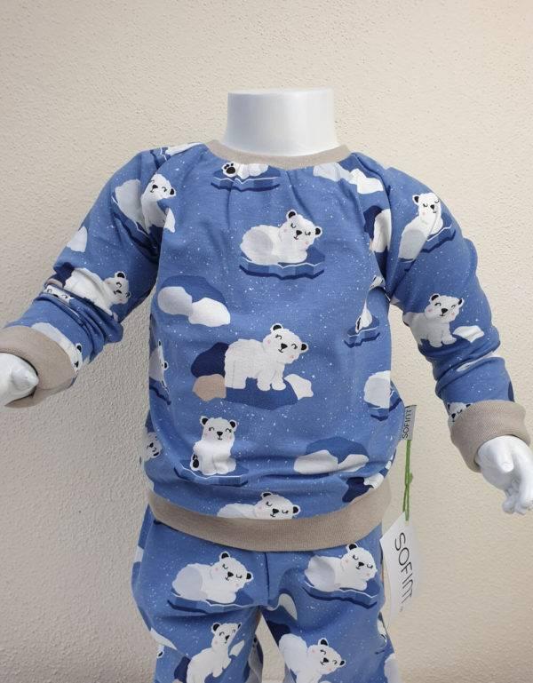 Langarm-Shirt blau mit Eisbär auf Eisscholle