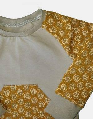 Langarm-Shirt beige und senf-gelb mit Blumen