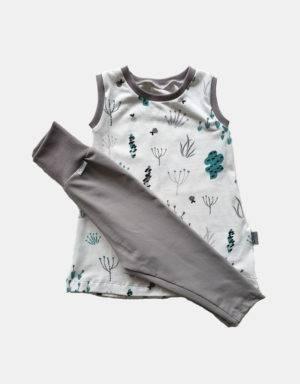 Kurzarm-Kleid / Hängerchen + Leggings weiß mit Sommerblumen