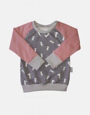 Langarm-Shirt grau mit Kaninchen