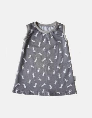 Kurzarm-Kleid / Hängerchen grau mit Kaninchen