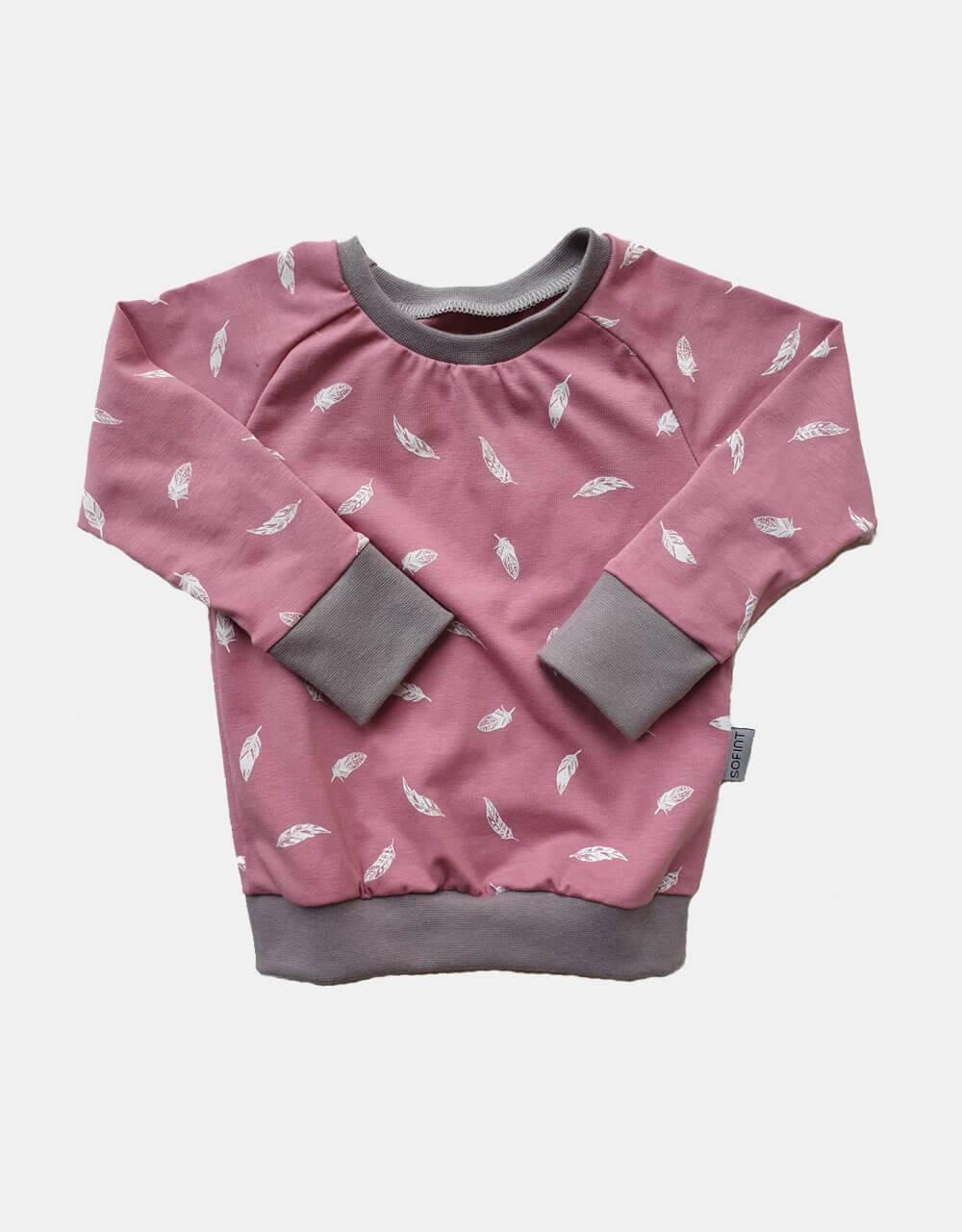Langarm-Shirt altrosa mit Feder