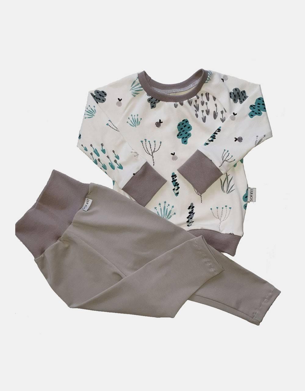 Langarm-Shirt + Leggings weiß mit Sommerblumen