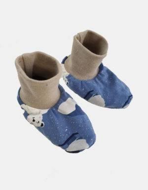 Baby-Schuhe blau mit Eisbär auf Eisscholle, gefüttert mit Nicki