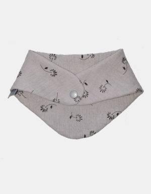 Dreieck-Tuch Musselin hellgrau mit Blume