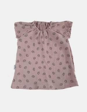 Kurzarm-Kleid Musselin zart rosa mit Igel