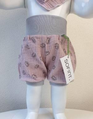 Kurze Hose aus Musselin zart rosa mit Igel