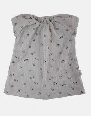 Kurzarm-Kleid Musselin hellgrau mit Blumen