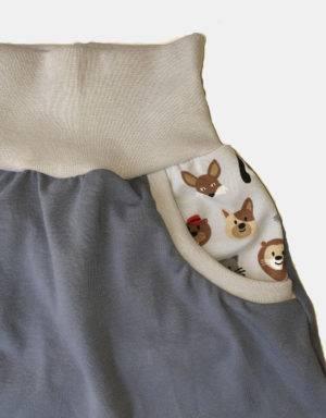 Pumphose (Baggy-Style) blau mit Taschen, Tiergesichter