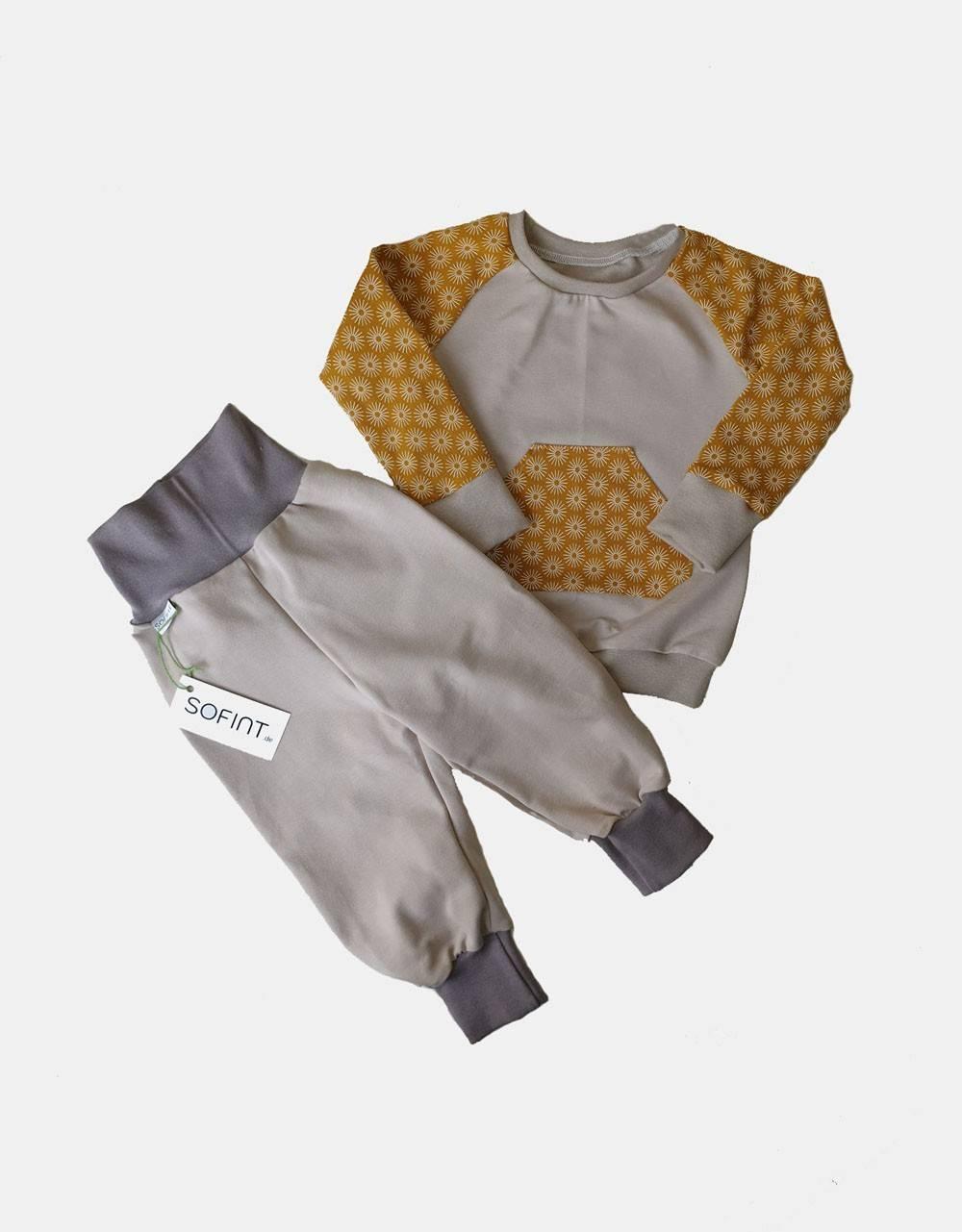 Langarm-Shirt + Pumphose senf-gelb mit Blumen
