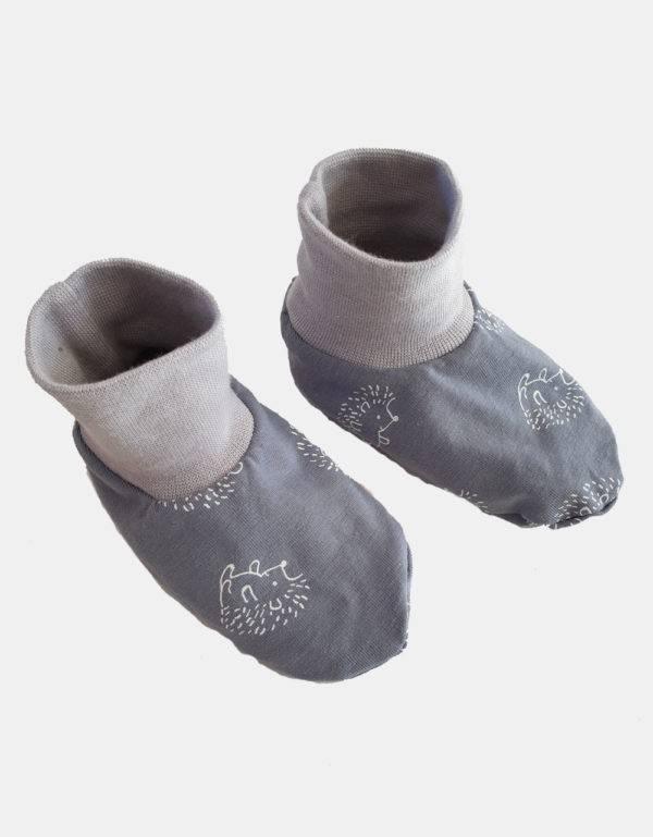 Baby-Schuhe blau mit Igel, gefüttert mit Nicki