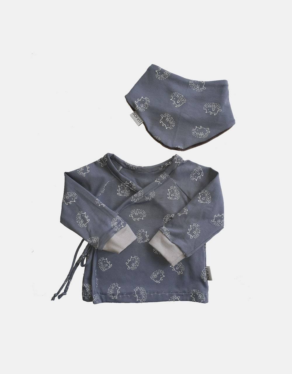 Wickelshirt + Dreieck-Tuch blau mit Igel
