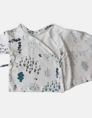 Wickelshirt weiß mit Blumen